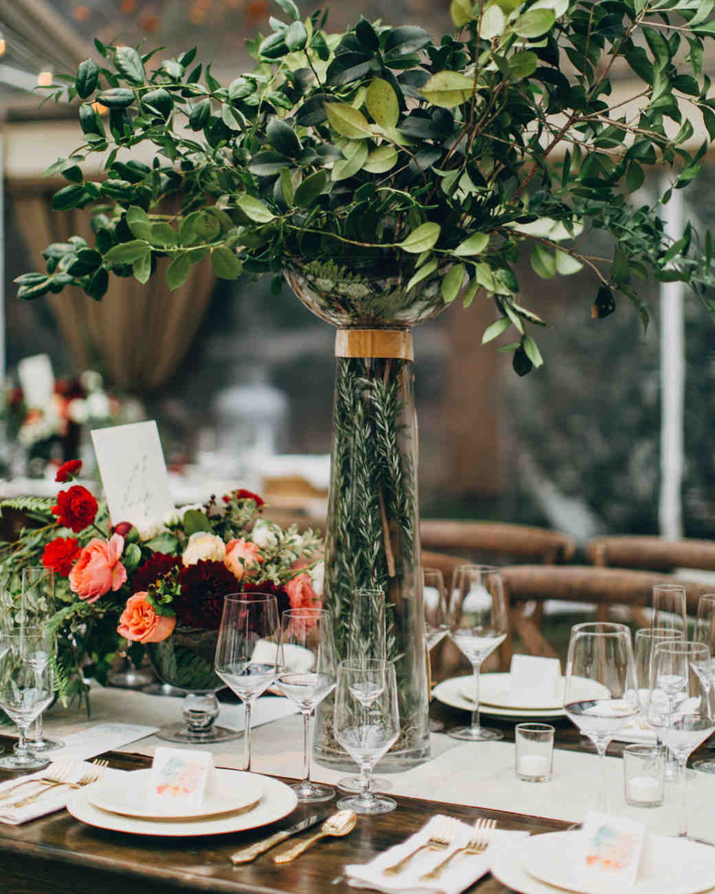 K'Mich Weddings - wedding planning- tall centerpiece - greenery