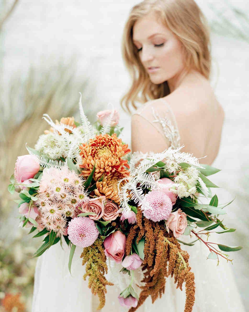 unique wedding color palettes orange pink cream bouquet