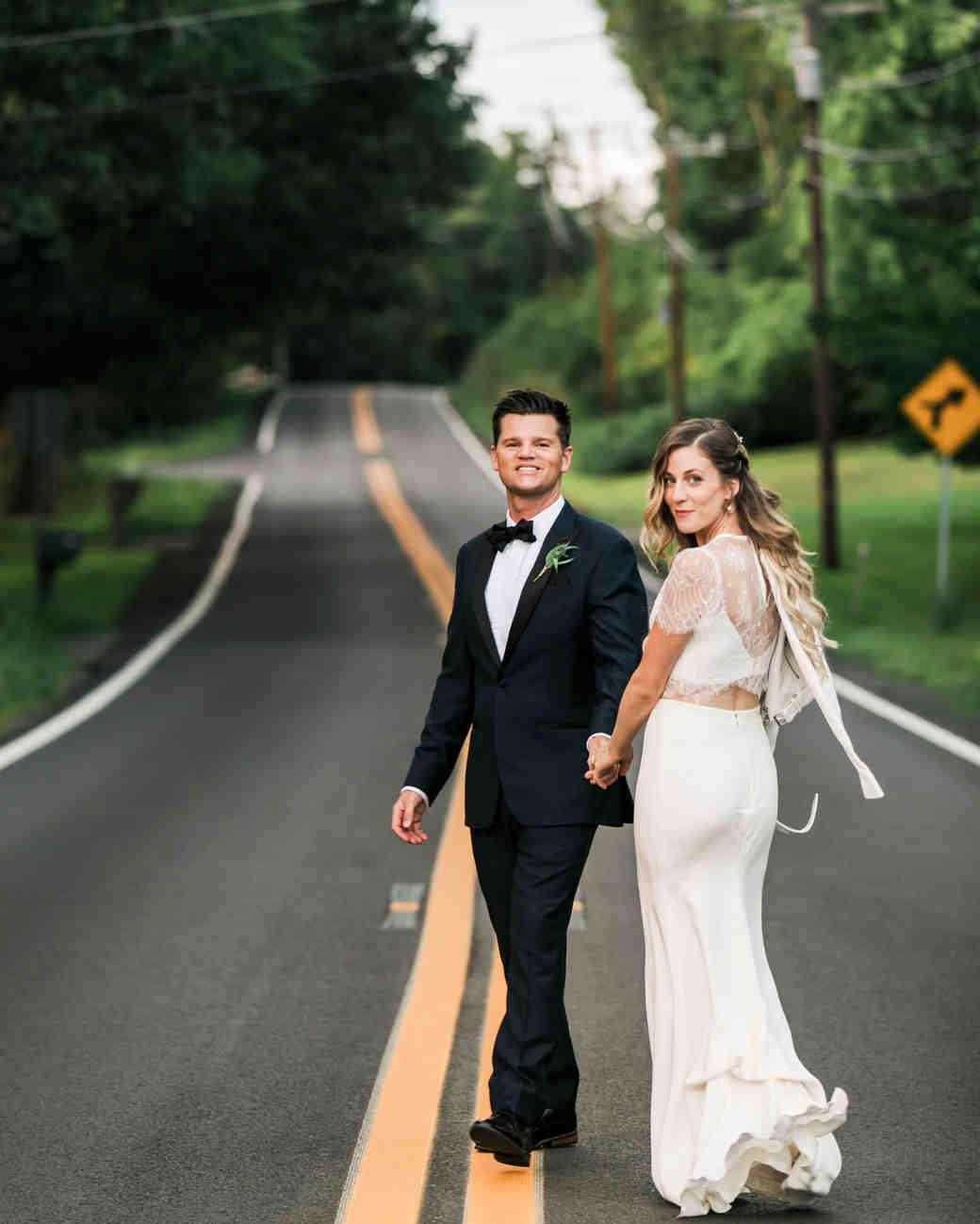 vanessa steven wedding couple road