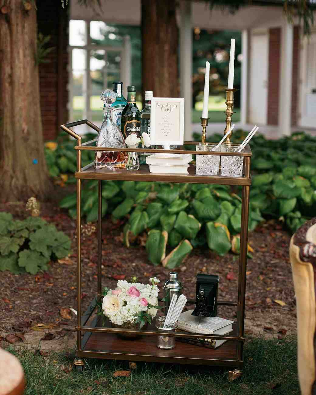 brass wedding bar cart