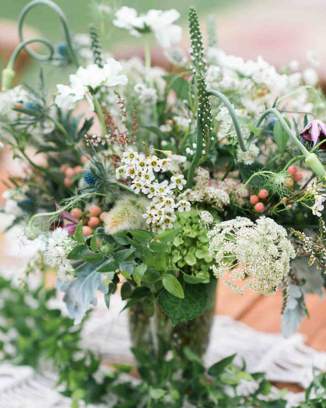 wedding centerpieces greenery flowers clear vase