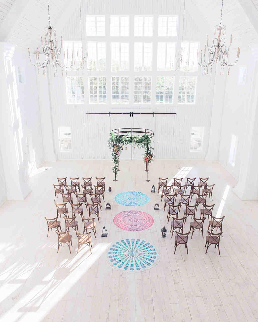 Aisle wth circular rugs