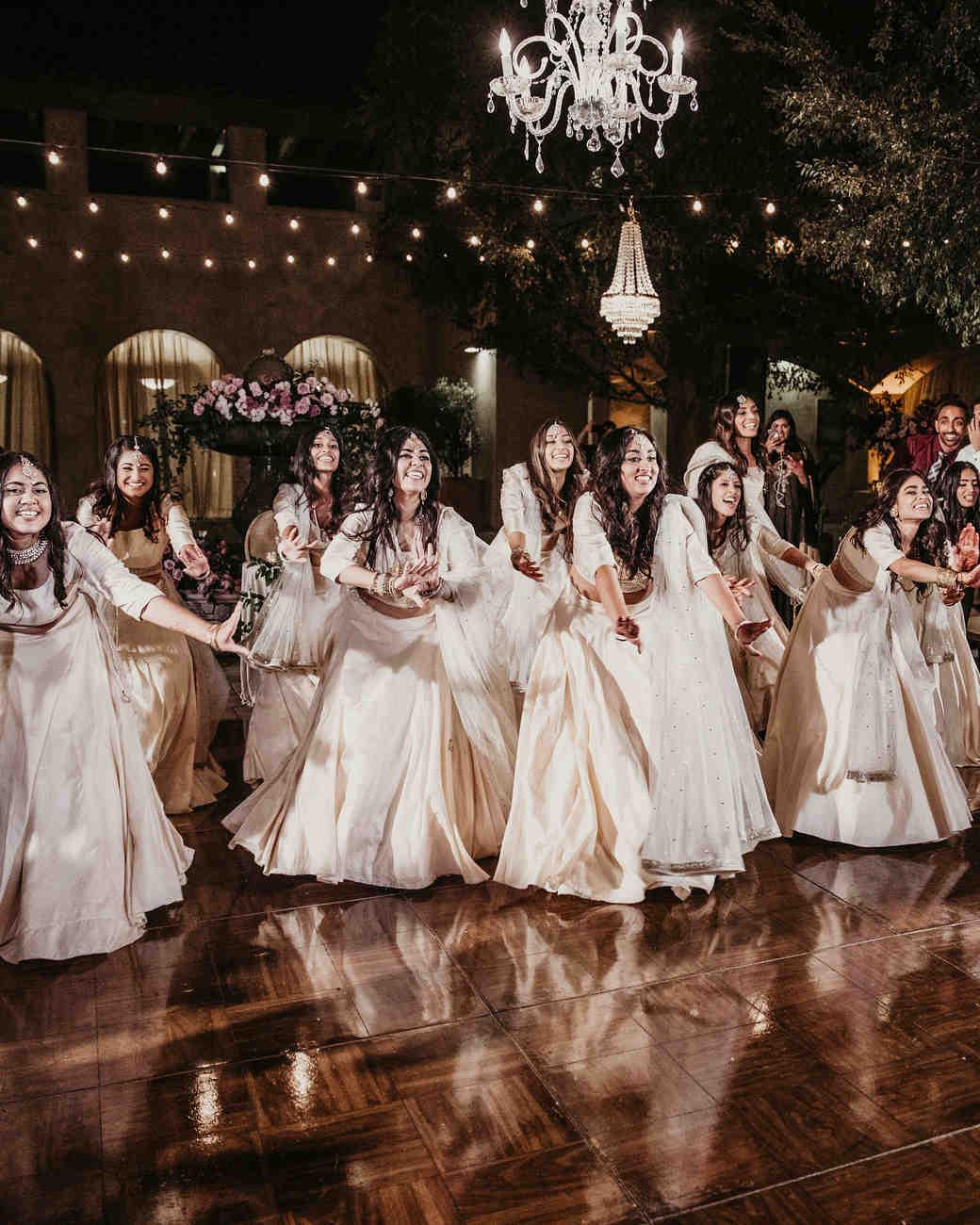 wedding reception bridesmaids choreographed dance