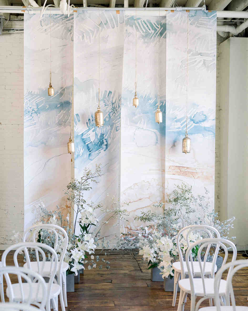 art-inspired wedding ideas abstract water color ceremony backdrop