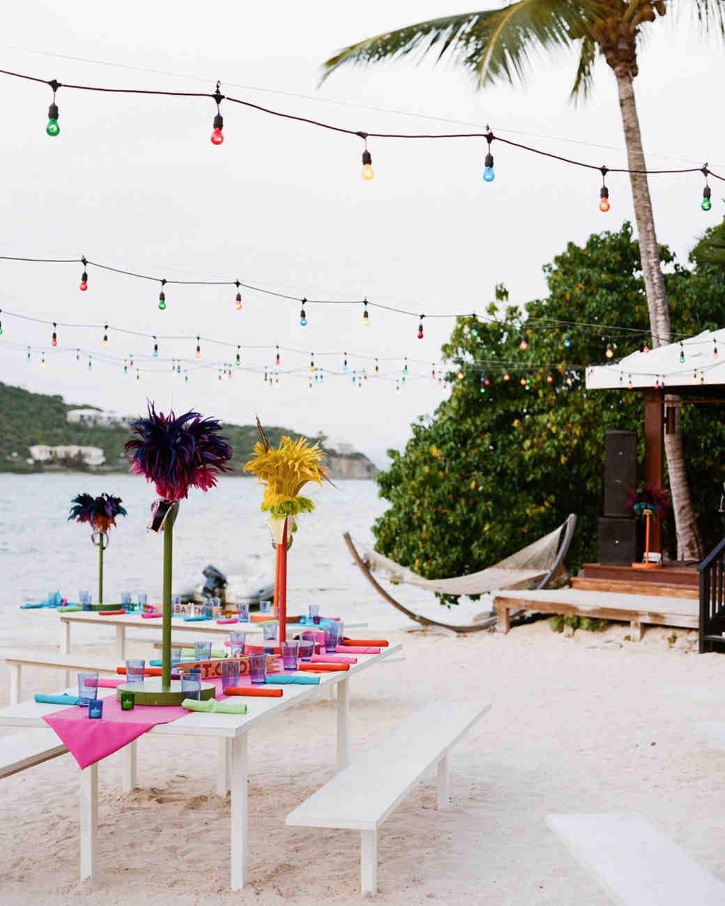 beach wedding table