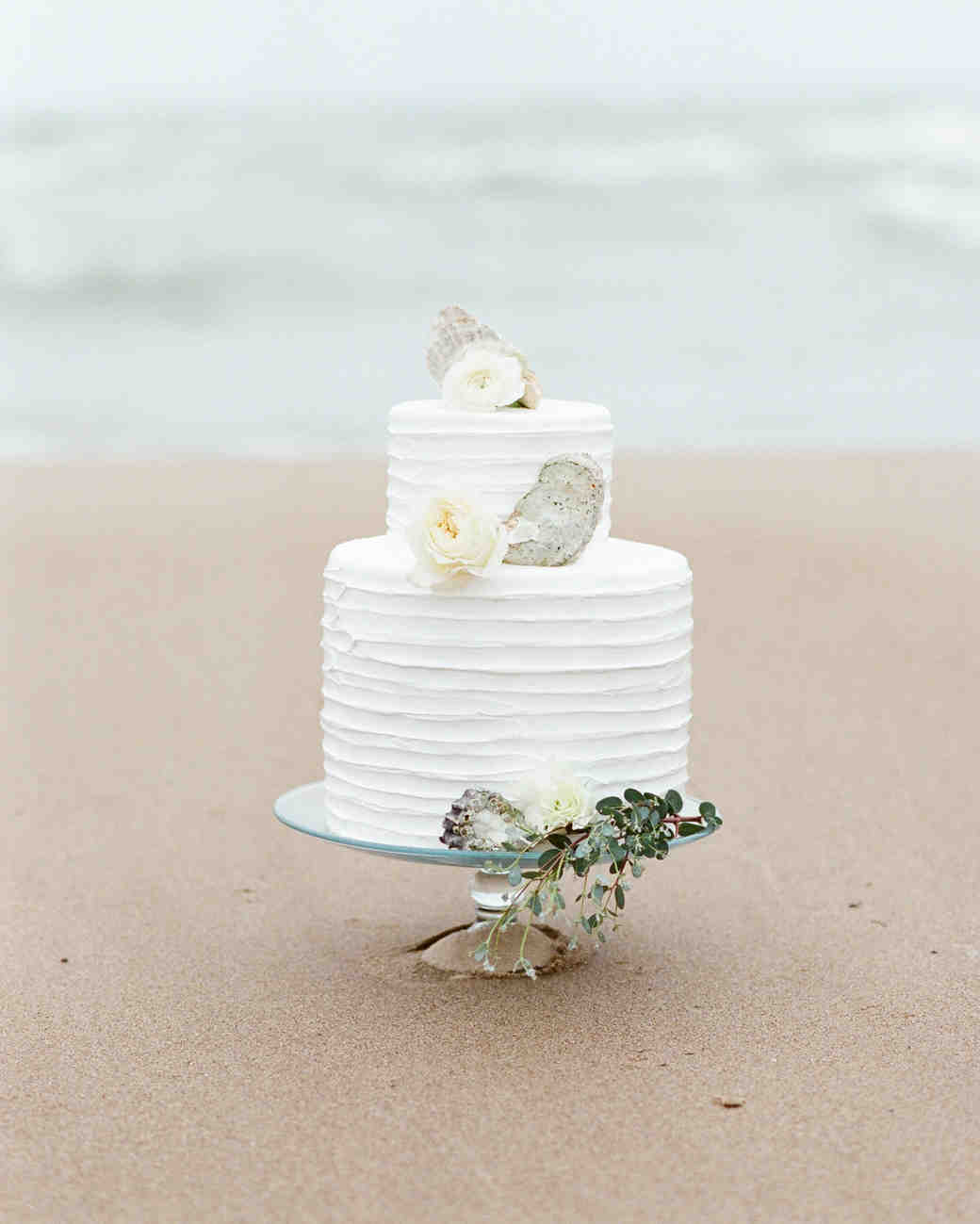 Ruffled Wedding Cake Decorated with Shells