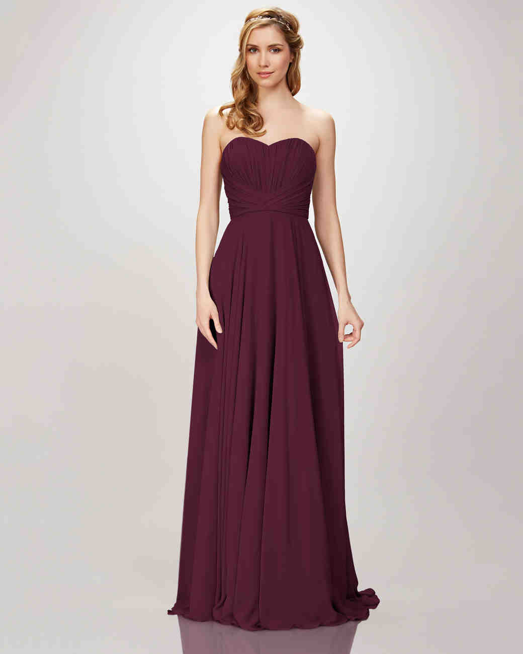 "burgundy bridesmaid dress – Theia ""Style 910104 Blaire"" Strapless Chiffon Gown"