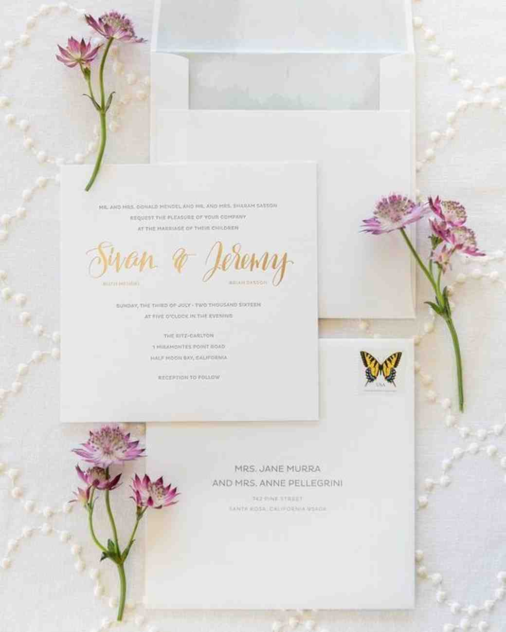 classic wedding invitation with butterfly stamp