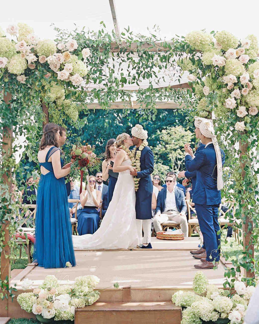 emily siddartha wedding ceremony kiss