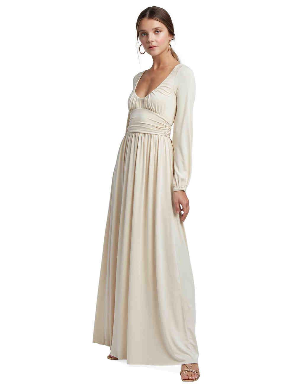 cream maxi engagement party dress