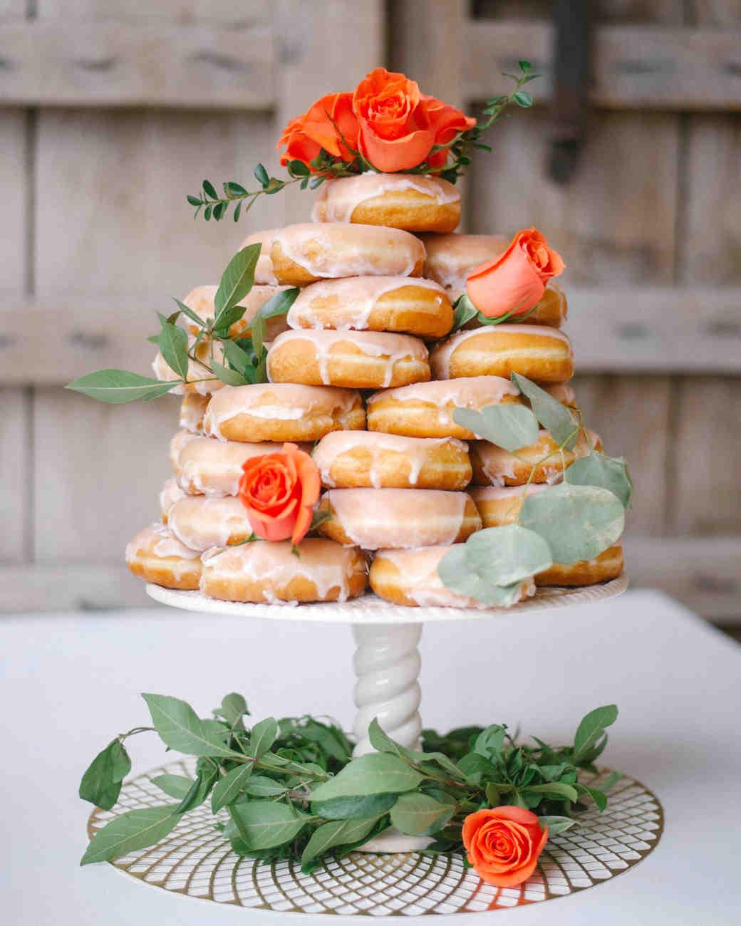 eucalyptus wedding donut cake