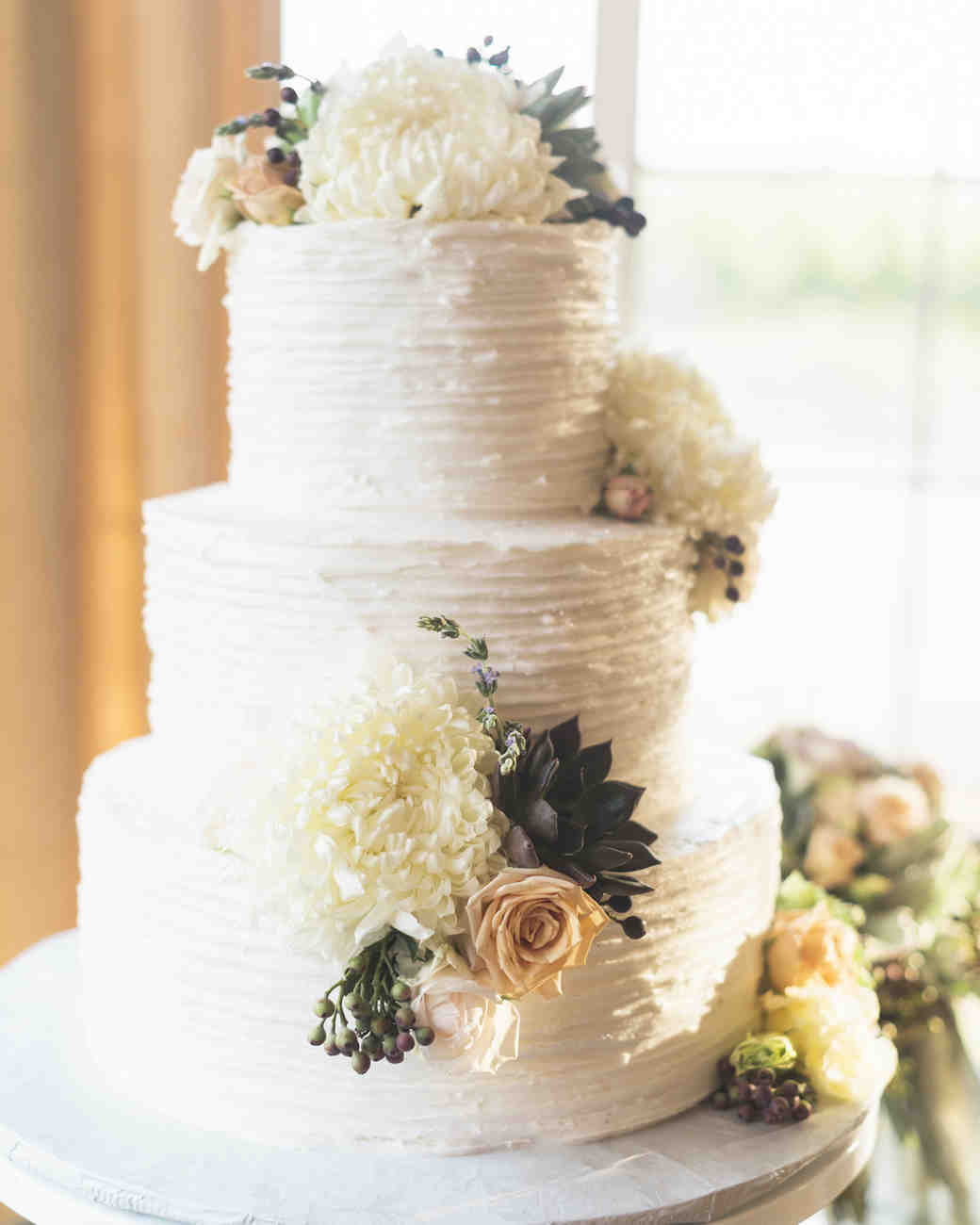 White Wedding Cake with Flower Details