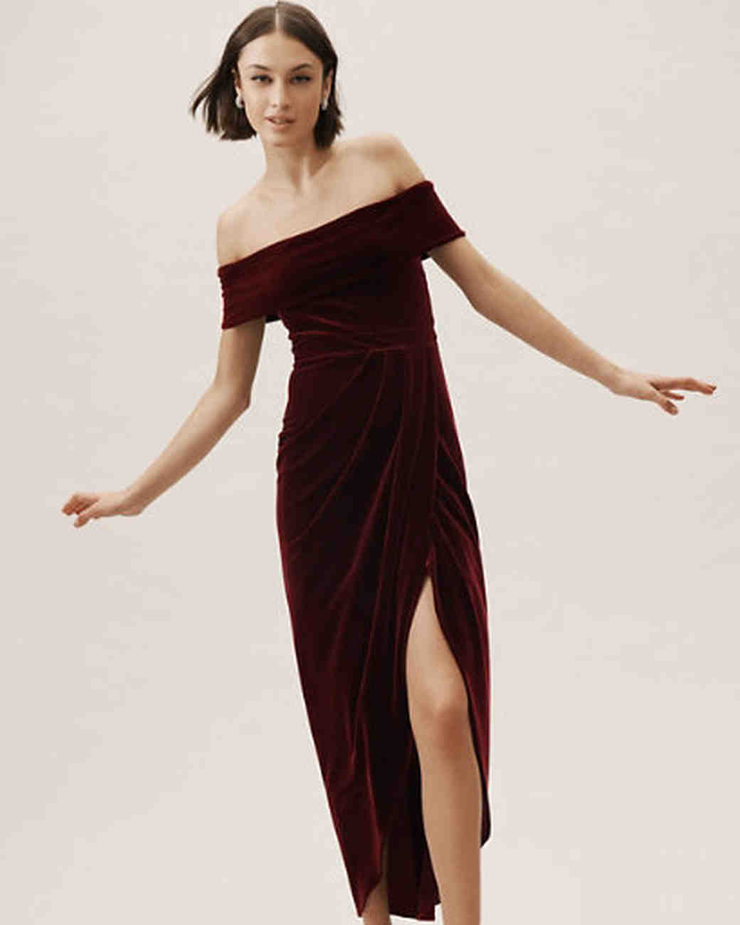 Off The Shoulder Velvet Fall Wedding Guest Dress