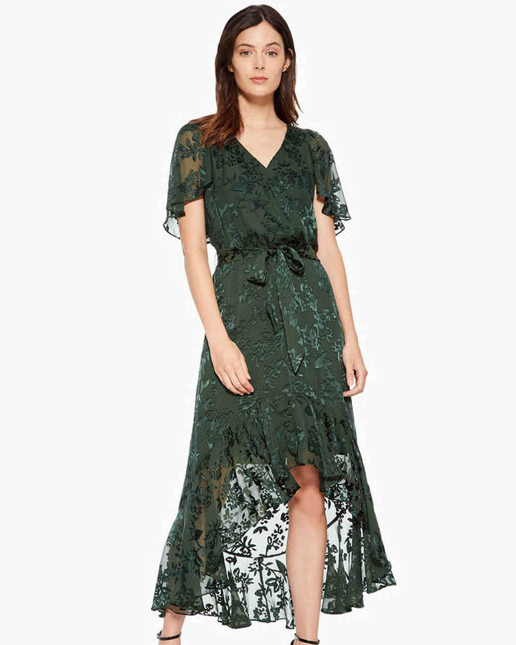 High Low Green Fall Wedding Guest Dress