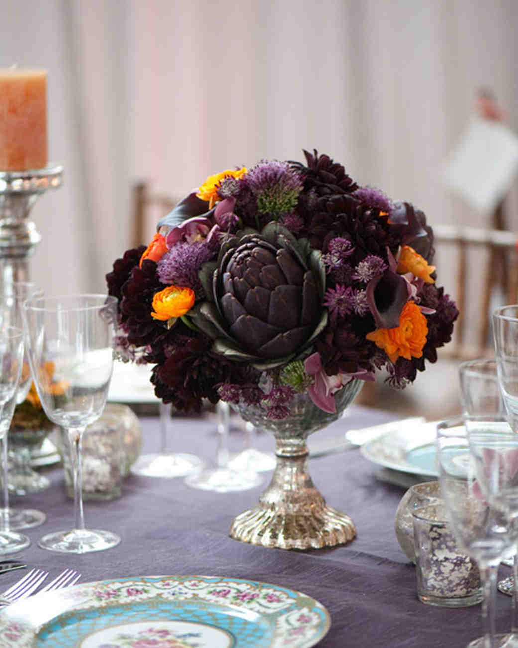 Purple Artichoke Wedding Centerpiece