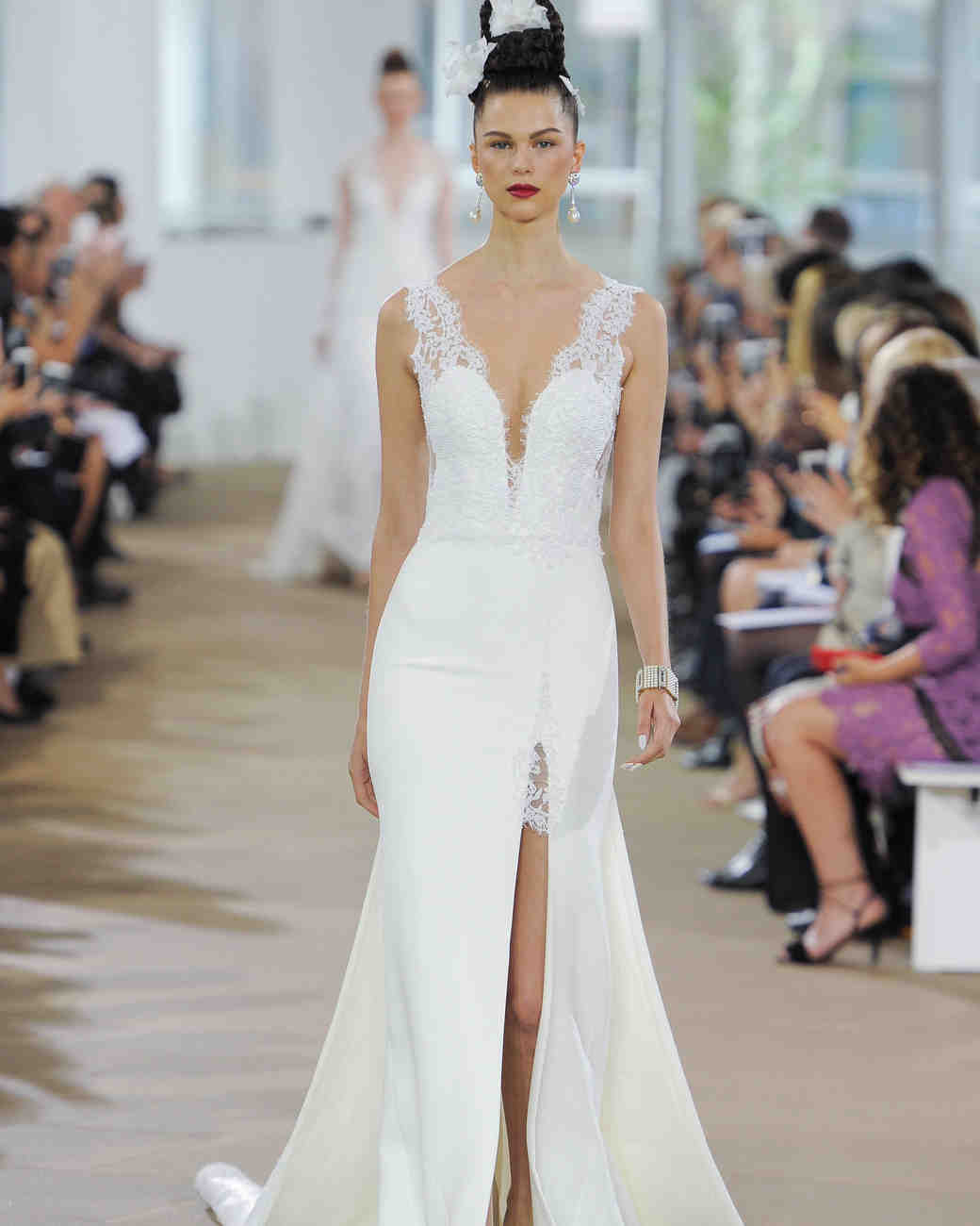 Ines Di Santo Trumpet Wedding Dress with V-Neck Spring 2018
