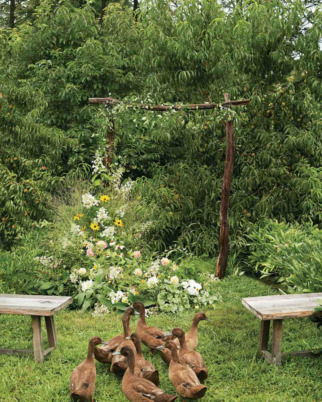 Wooden Ceremony Arch with Wrap-Around Florals