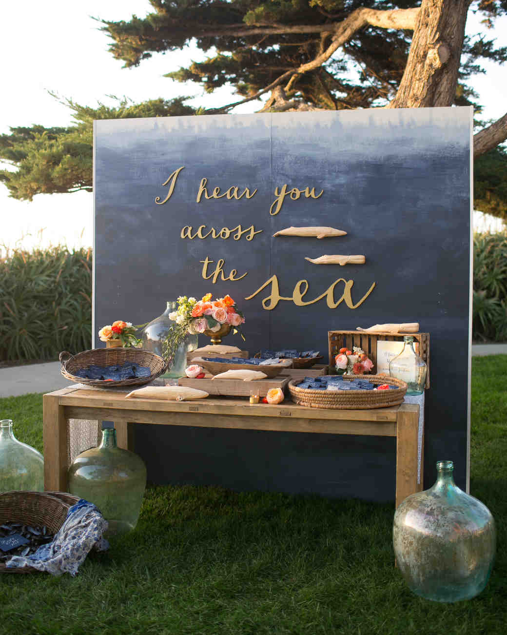 nautical wedding seating display with quote