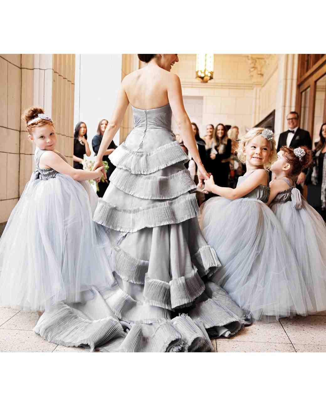Flower Girls Wearing Silver Dresses