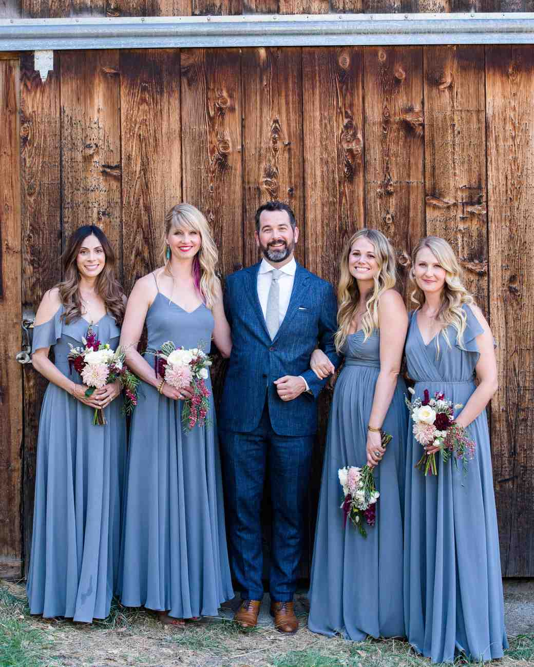 groom bridesmaids blue