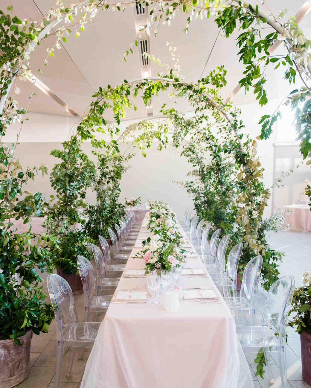 texas wedding greenery arch long tables