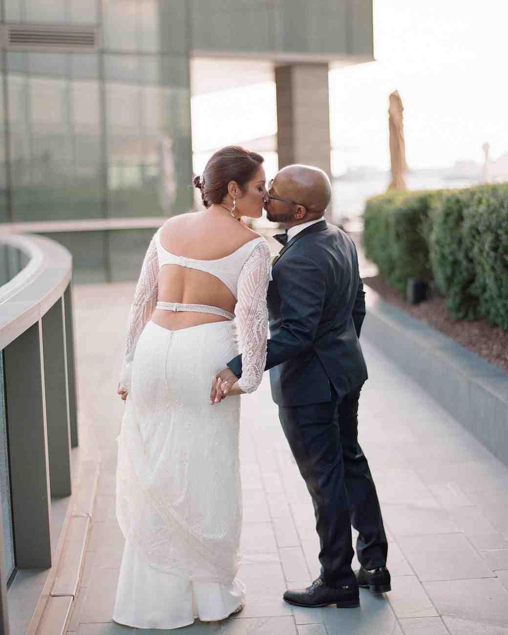 wedding couple portrait kiss