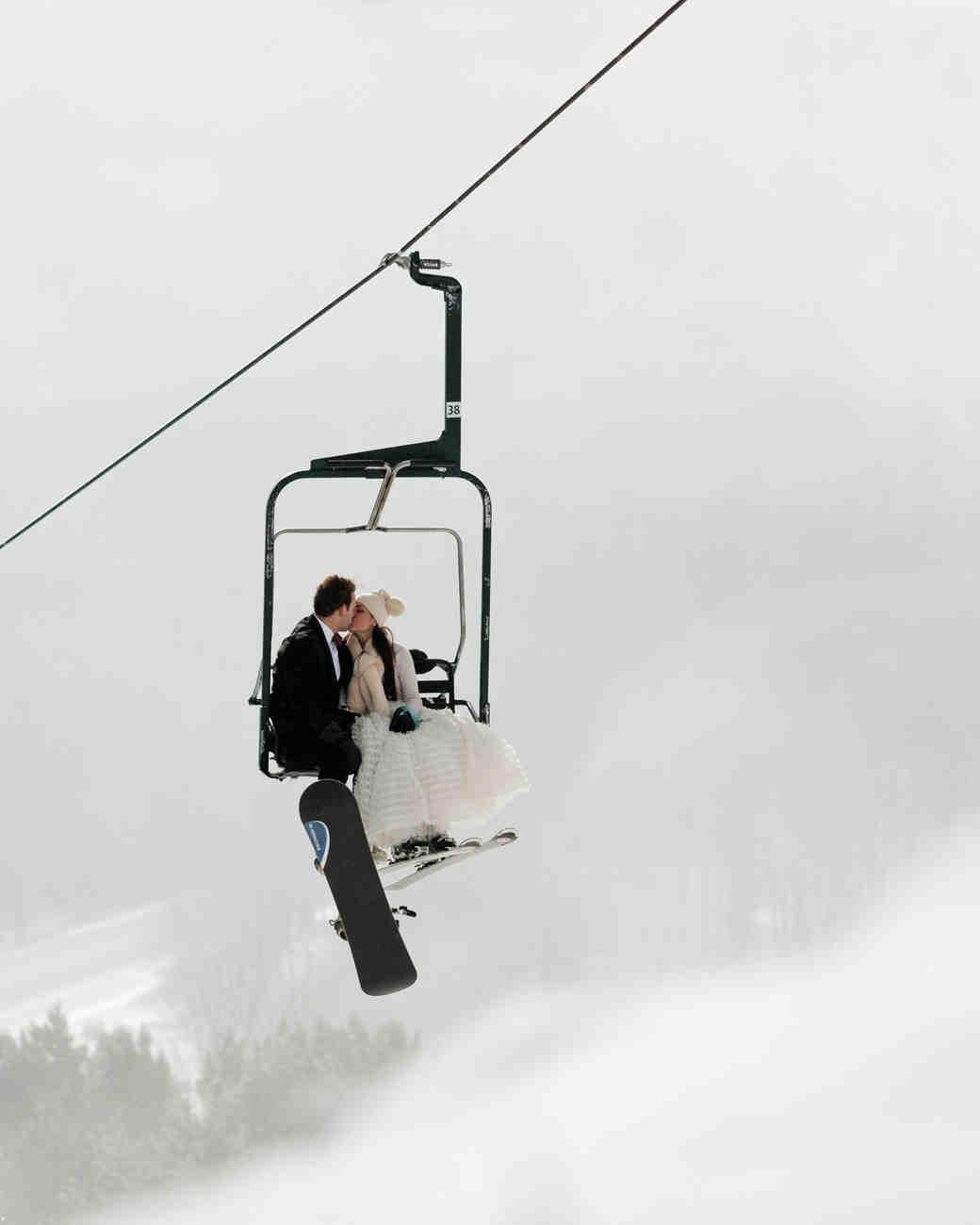 lauren and christian kissing on ski lift