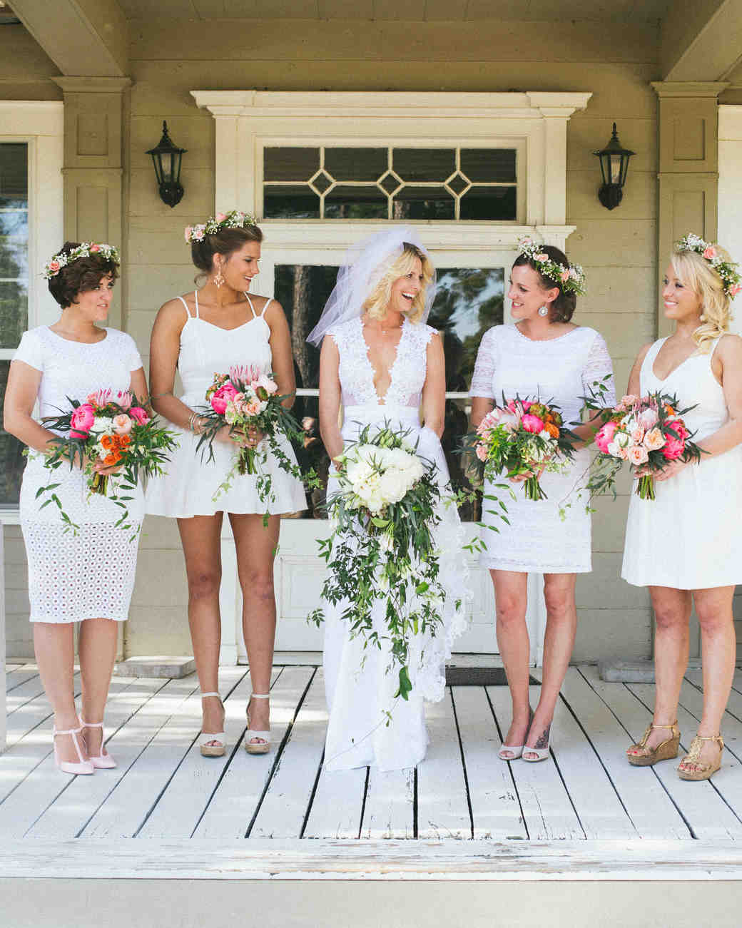 Mismatched Short White Bridesmaid Dresses