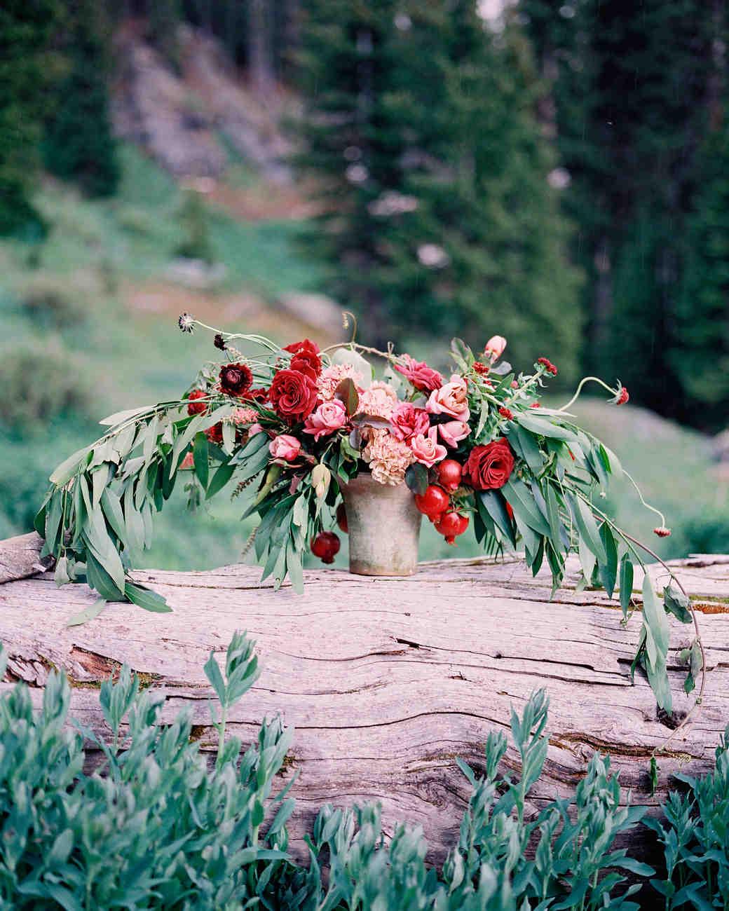 wedding centerpiece in bucket