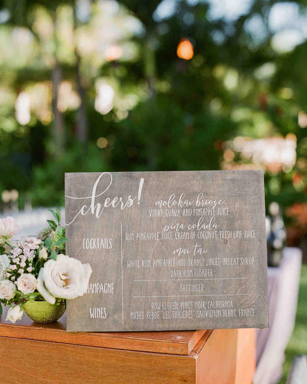 hawaiian wedding cocktail hour wooden menu sign