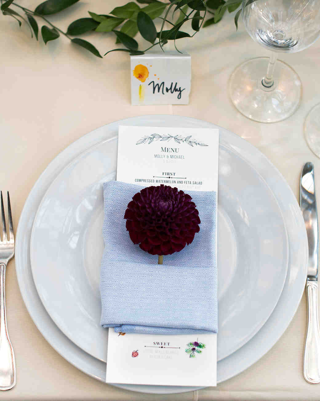 molly michael wedding place setting