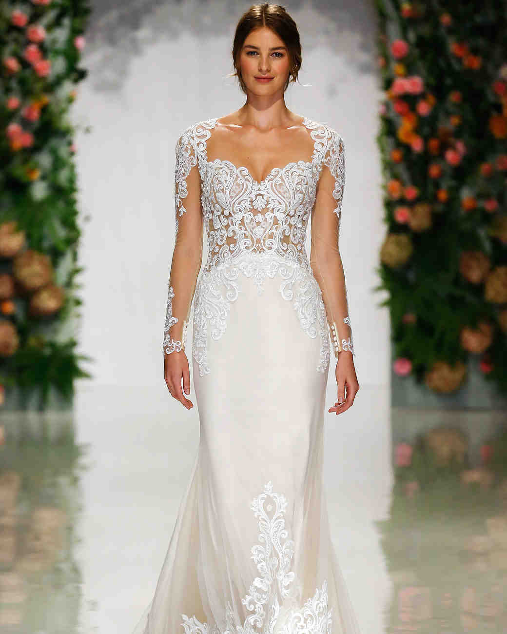 morilee madeline gardner fall 2019 lace sheer long sleeves sheath wedding dress