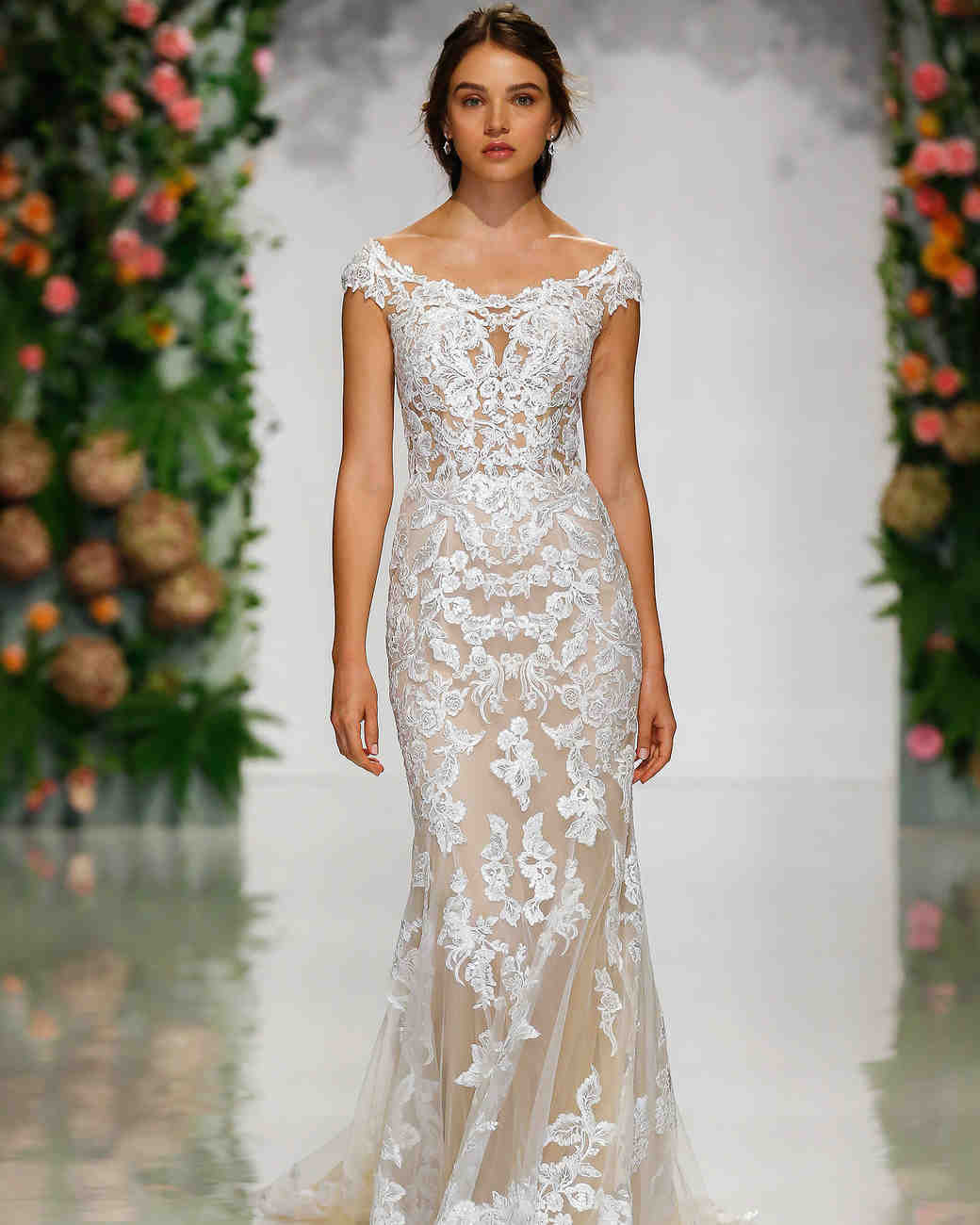 morilee madeline gardner fall 2019 scoop neck cap sleeve lace sheath wedding dress