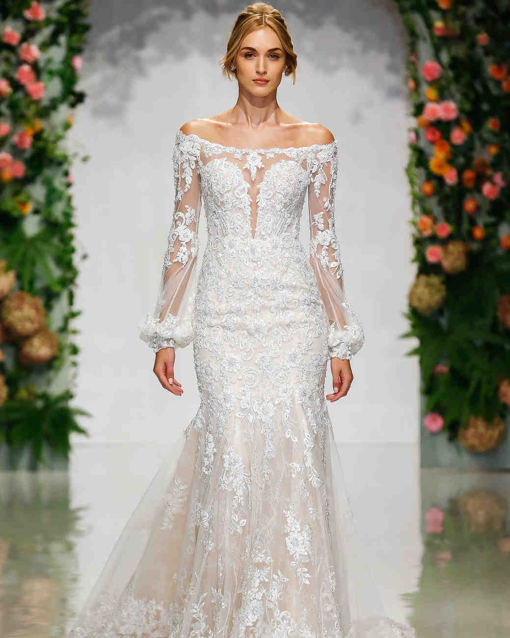 morilee madeline gardner fall 2019 off the shoulder lace mermaid wedding dress