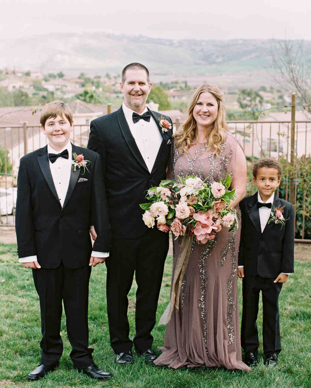 surprise wedding couple family two boys