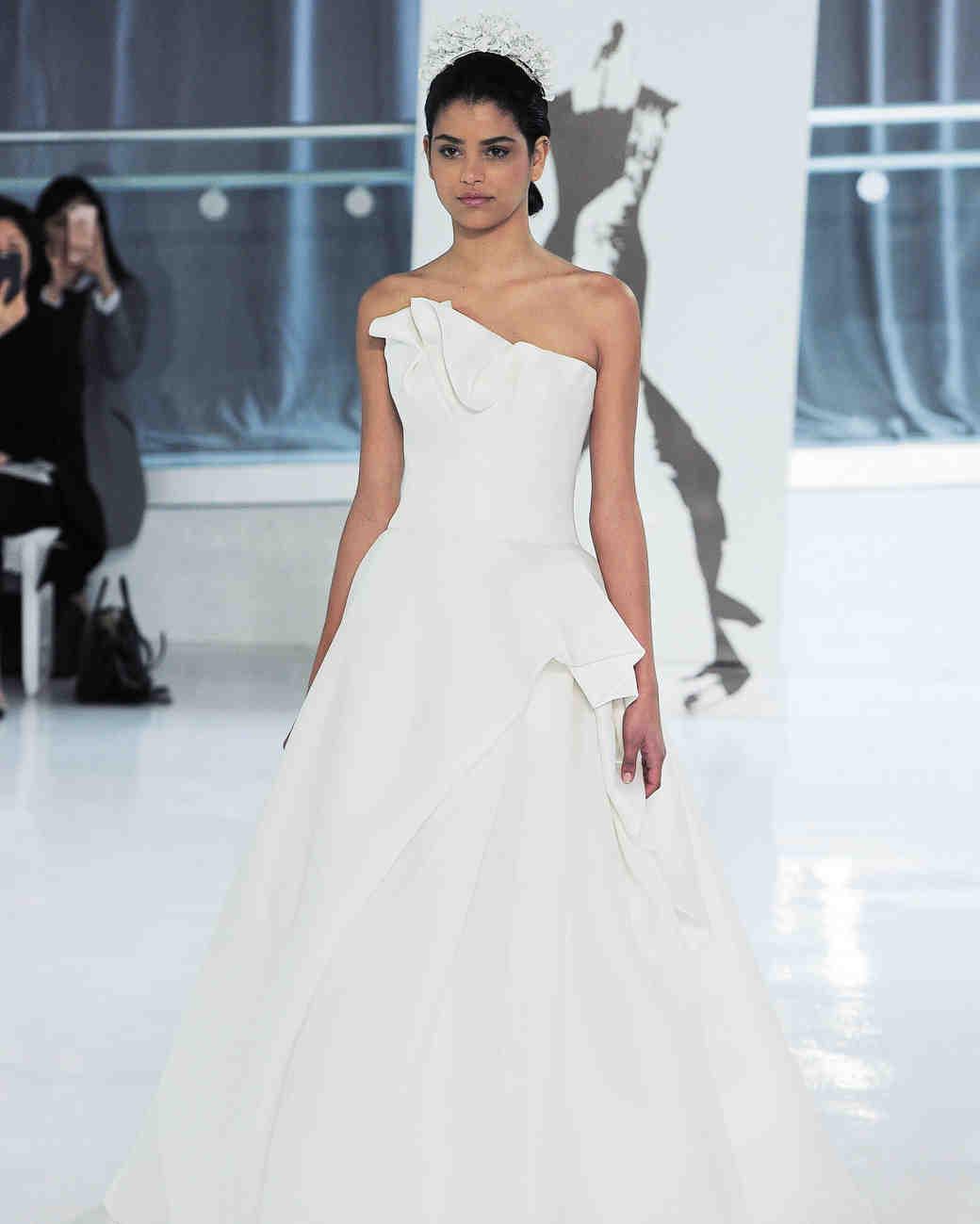 one shoulder peter langner wedding dress spring 2018