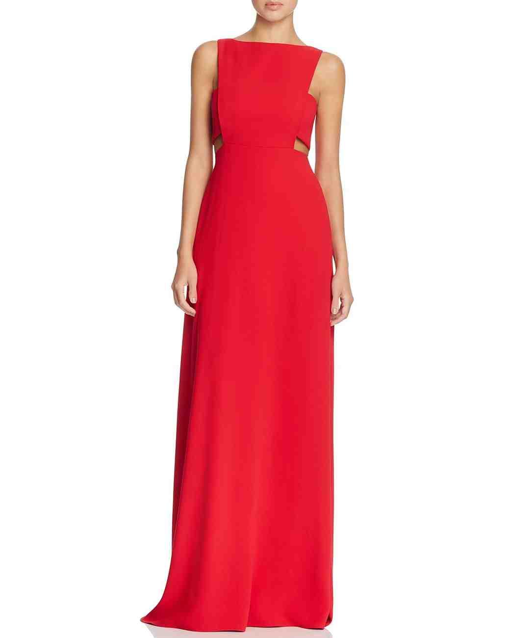 red bridesmaid dress jill stuart cutout waist