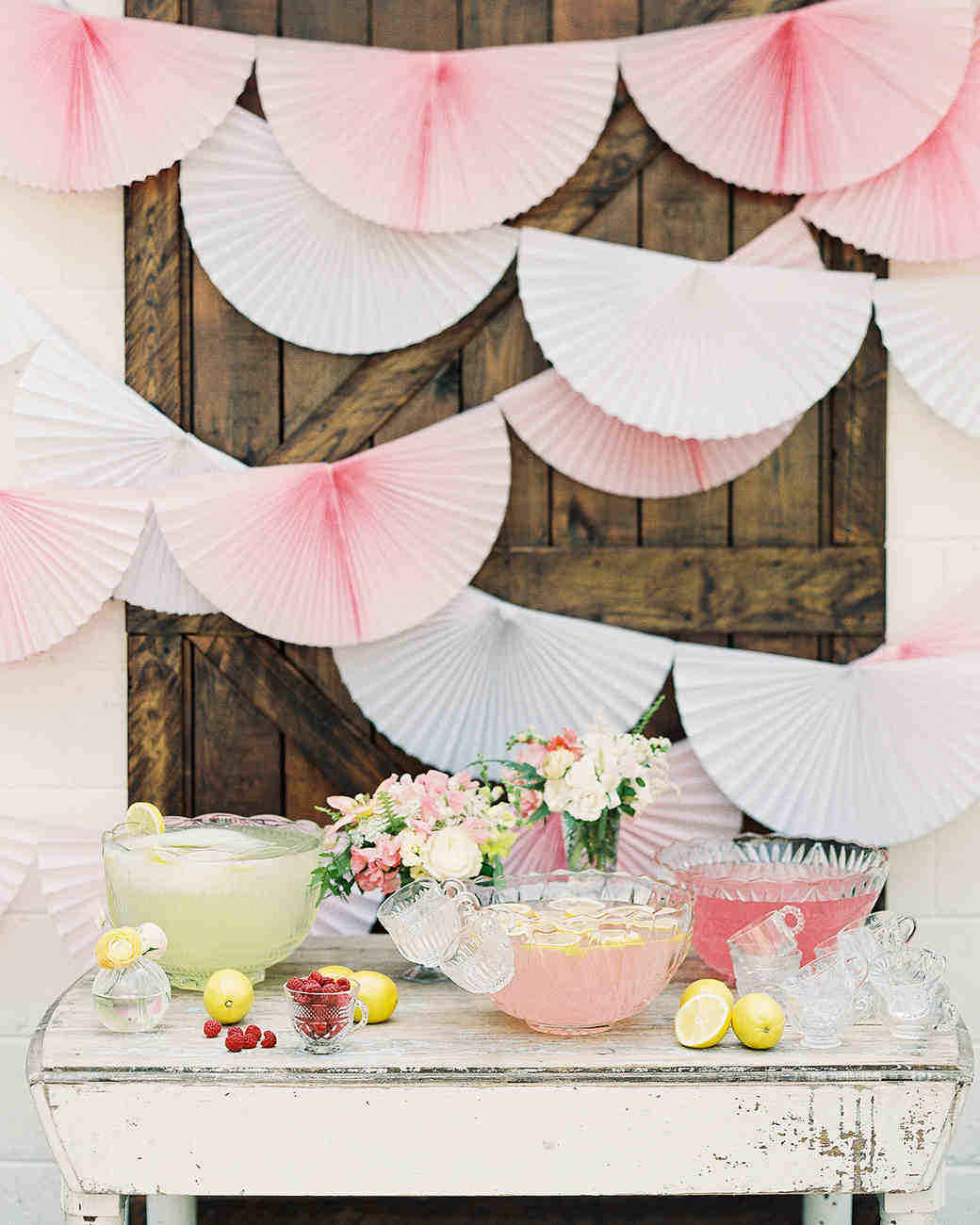 scalloped wedding decor pink fan backdrop drink table