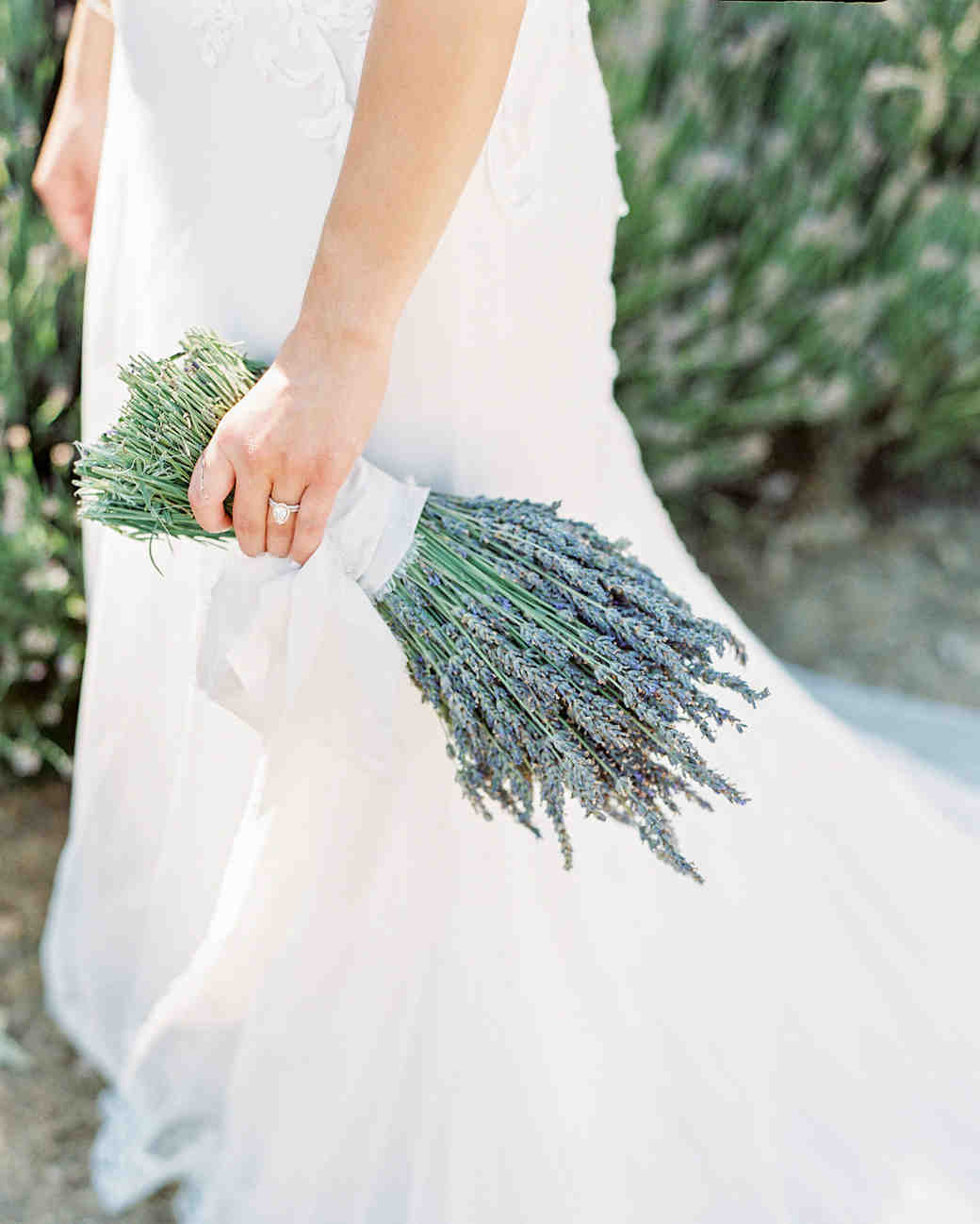single flower wedding bouquet lavender bundled with white ribbon