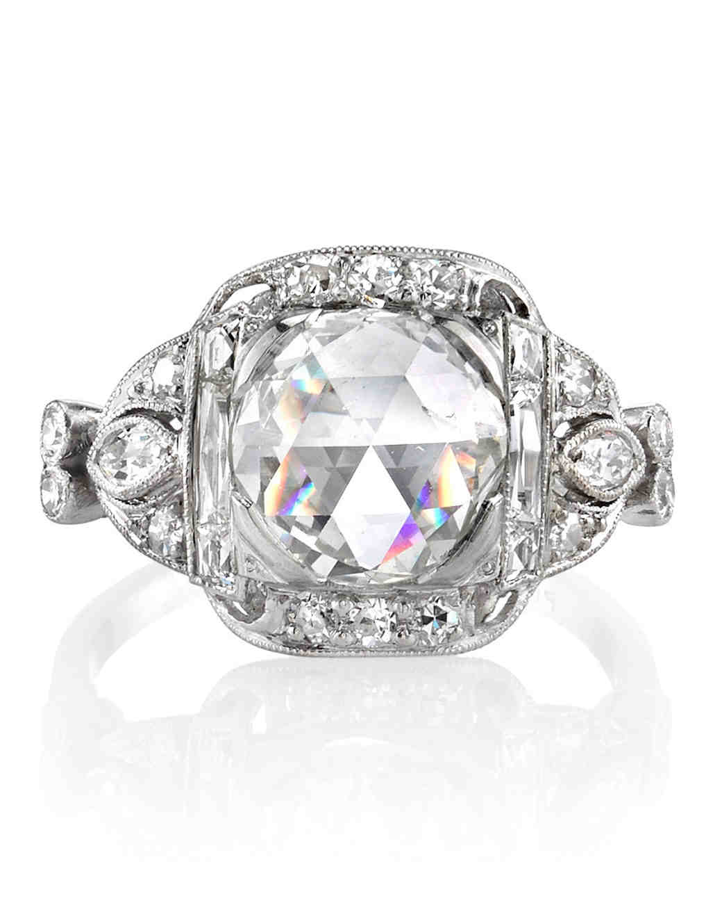 Single Stone 1915 vintage rose-cut engagement ring
