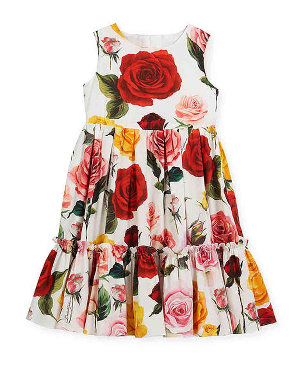 summer flower girl dress pink red yellow roses pattern