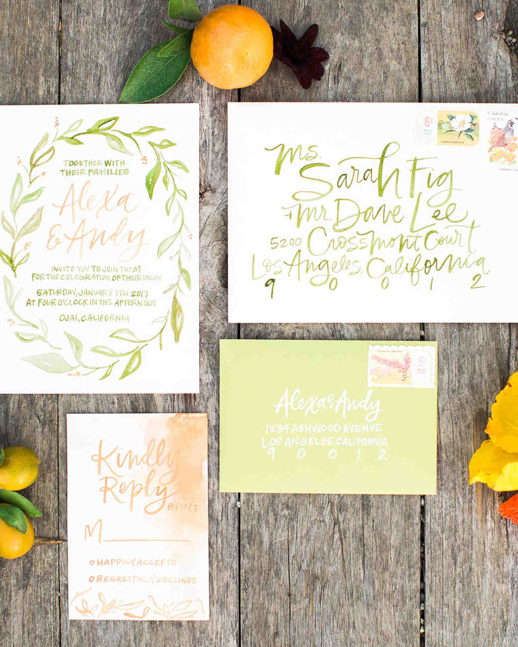 Attractive Bright Green Calligraphy Wedding Invitations For A Summer Wedding Photo Gallery