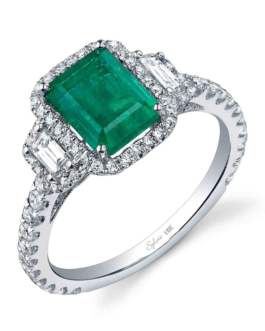 Slyvie Collection Emerald Engagement Ring: Green Lantern Emerald Wedding Band Set At Websimilar.org