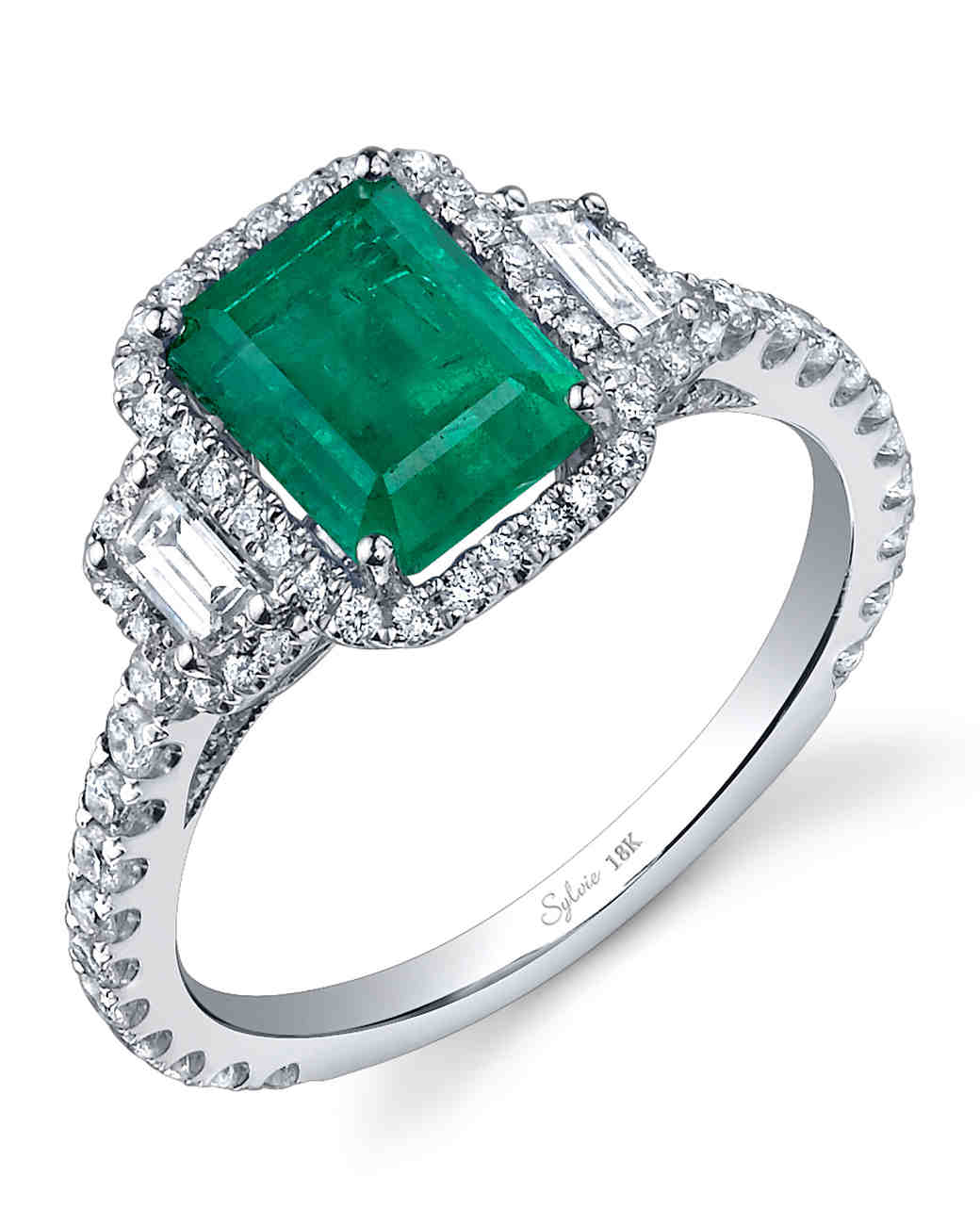 gemstone emerald stone ring cut octagon shop product rings halo trapeze by diamond
