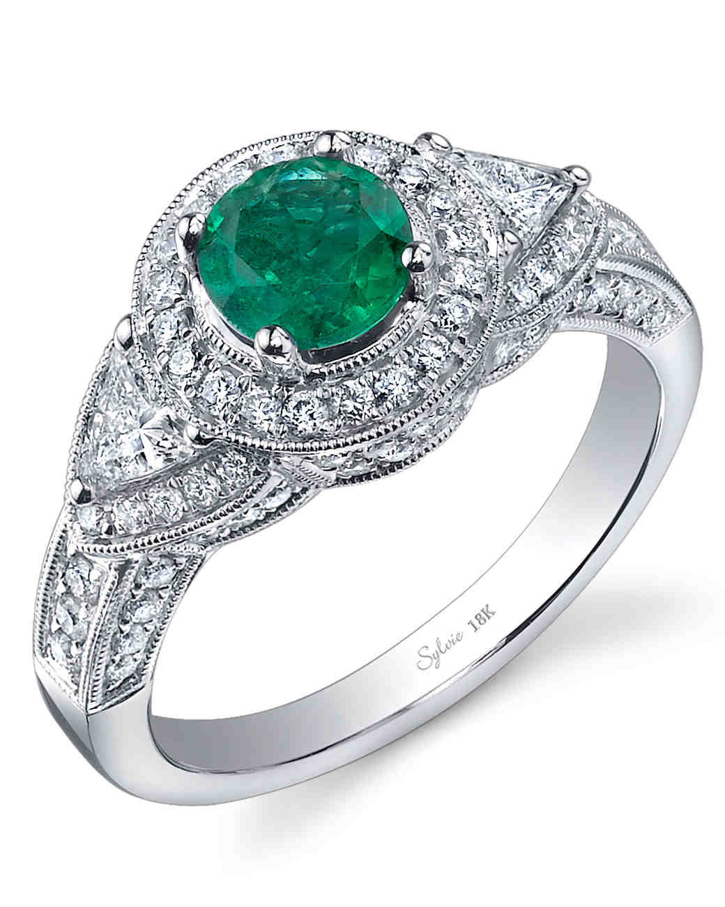 Sylvie Collection Emerald Engagement Ring