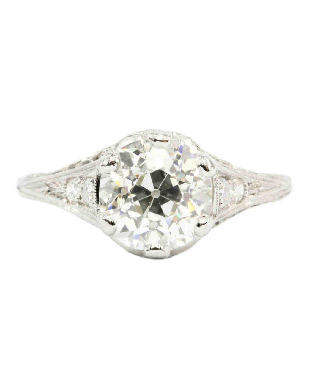 Art Deco Platinum European Cut Diamond Ring