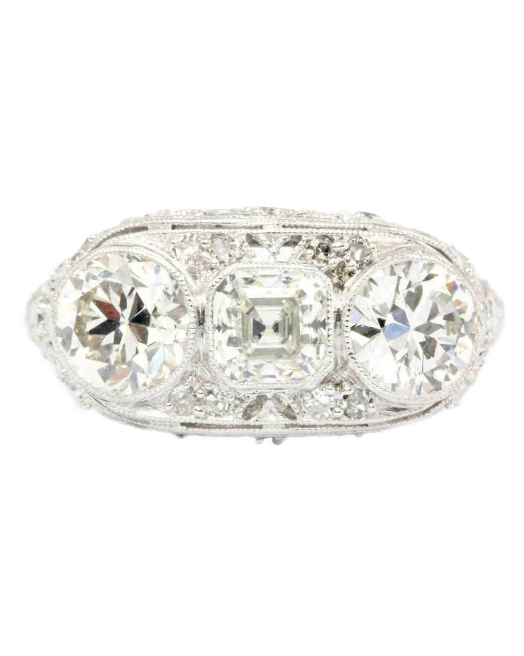 Art Deco Platinum Three-Stone Diamond Ring