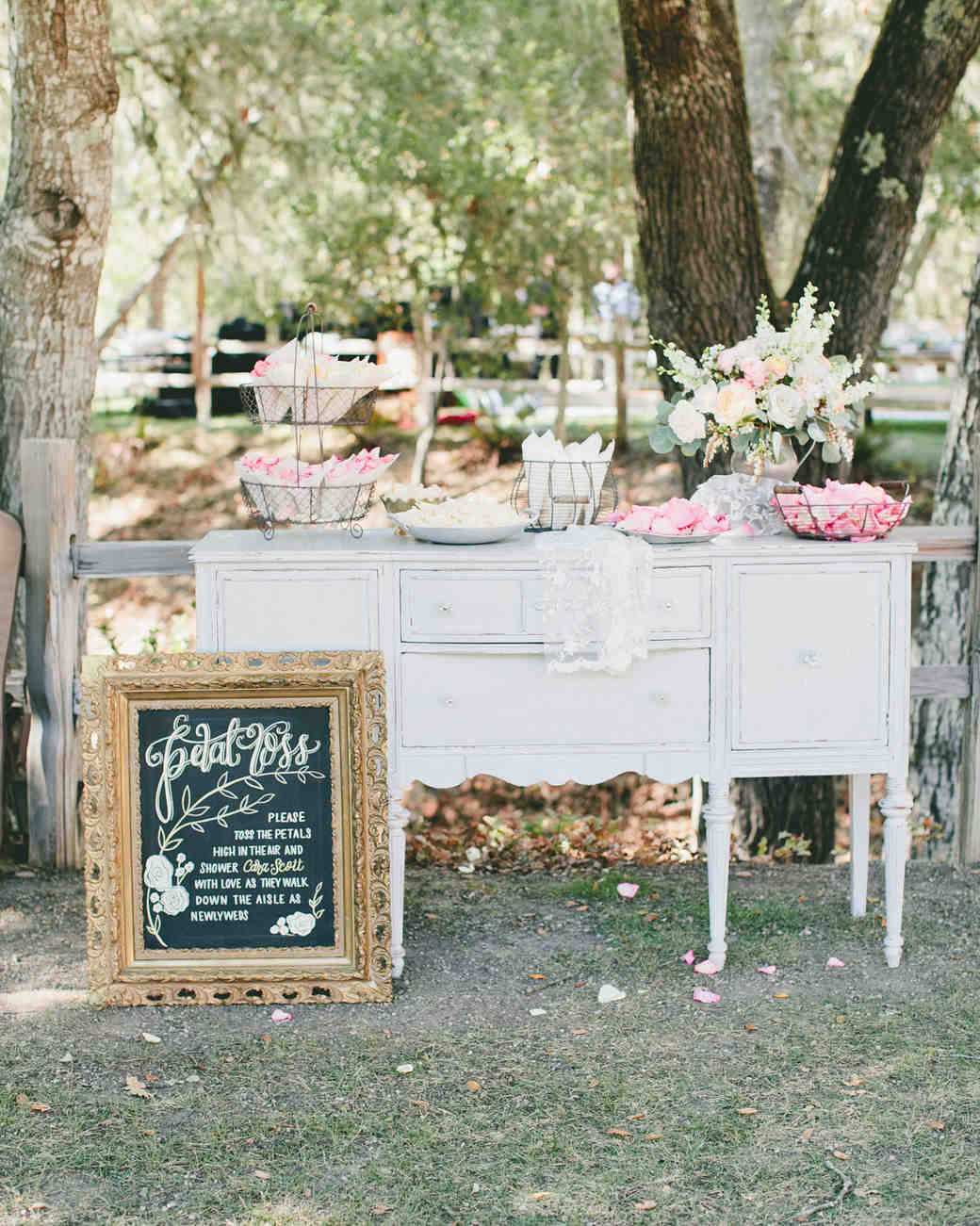 Wedding Flower Petal Bar, Vintage Dresser