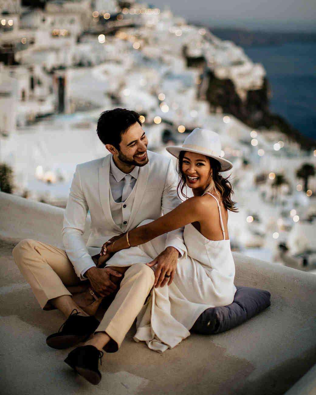 bride wearing white hat in greece