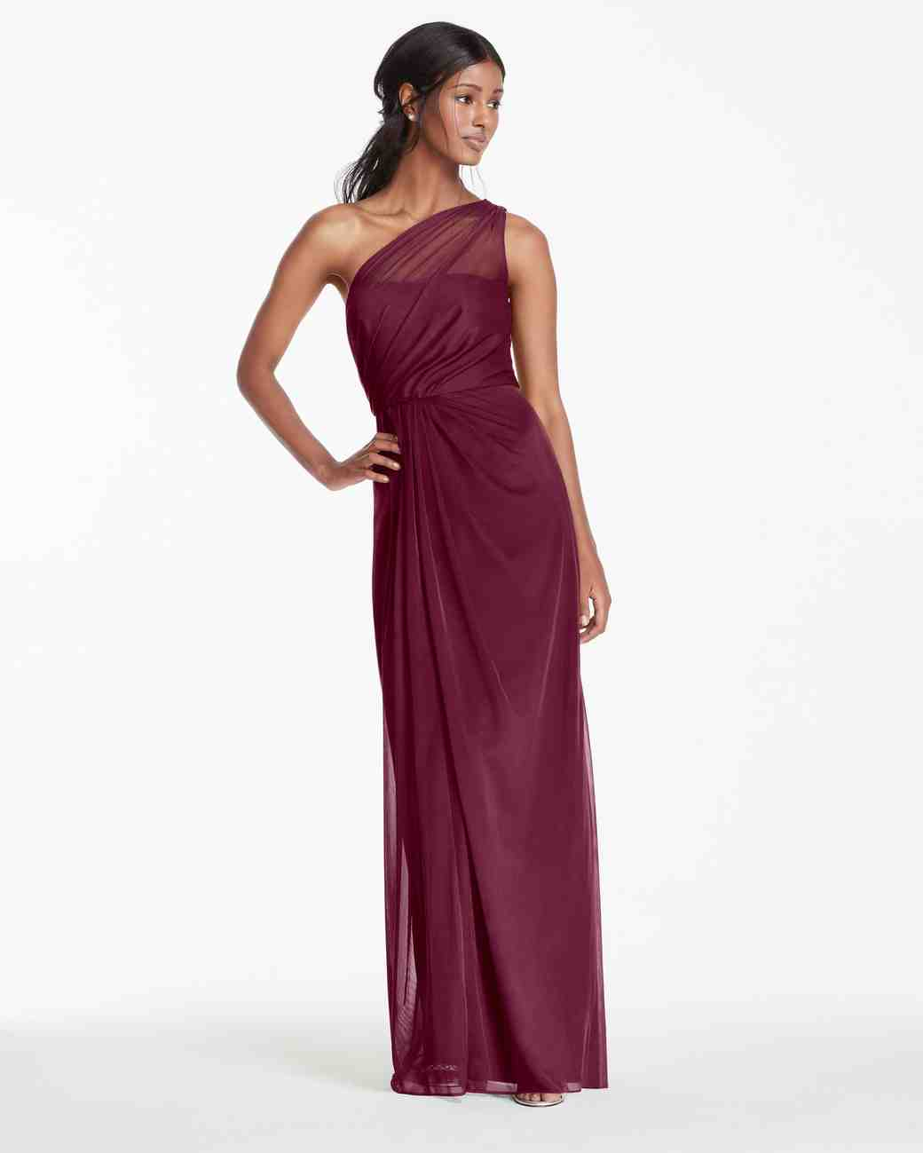 burgundy bridesmaid dress – David's Bridal F15928
